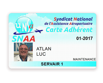 Membership card for UNSA Servair union (front) printed with Badgy