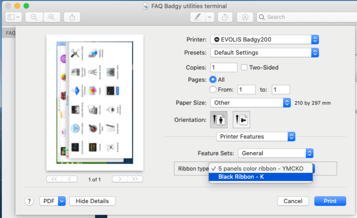 Badgy interface to choose the type of ribbon